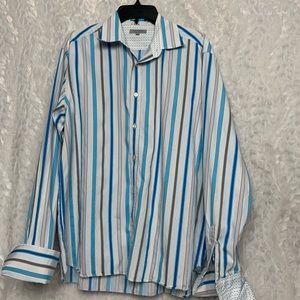 Ted Baker London 6 Mens Blue White Vertical Stripe